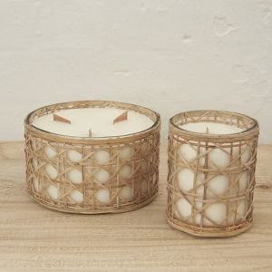 Lida Rattan Wrapped Candle l Nature l Pre Order