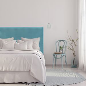 Light Blue Velvet Plain Upholstered Bedhead | All Sizes | Custom Made by Martini Furniture