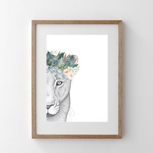 Linda the Lioness with Foliage Crown | Print