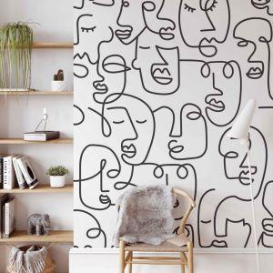 Line Art Faces | Black | Wallpaper
