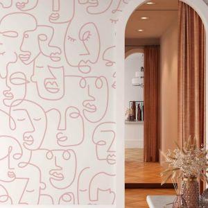 Line Art Faces | Blush | Wallpaper