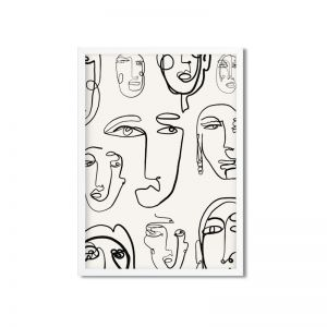 Line Art - FACES | | Framed and Unframed Art Print