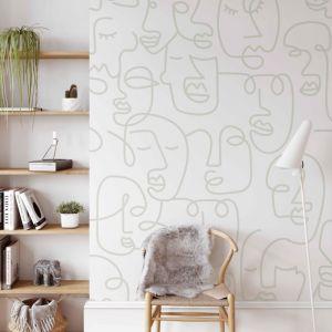 Line Art Faces | Sage | Wallpaper