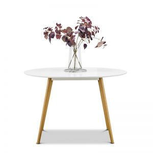 Line Round 120cm Dining Table | White & Oak