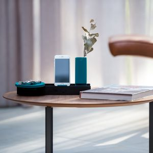 Linea by Jim Hannon-Tan | Tabletop Organiser Silicone Range | Black Tray + Teal Silicone