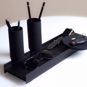 Linea by Jim Hannon-Tan | WFH | Tabletop Organiser Silicone Range | Silver Tray + Coral Silicone
