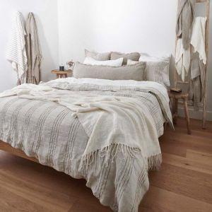 Linen Duvet   Queen Size   Rockpool Natural Linen/Organic Stripe