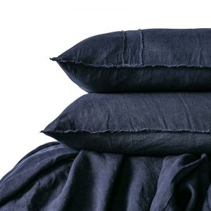 Linen Duvet Set | Queen Size | Navy