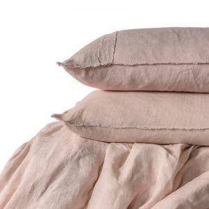 Linen Duvet Set   Queen Size   Soft Pink