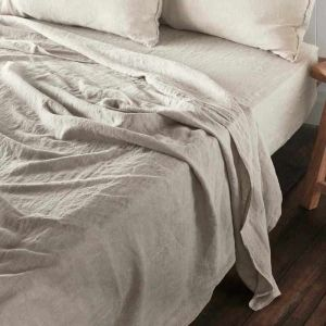Linen Fitted Sheet   King Size   Natural - Preorder