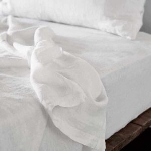 Linen Fitted Sheet   King Size   White - Preorder