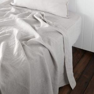 Linen Fitted Sheet   Queen Size   Silver Grey - Preorder