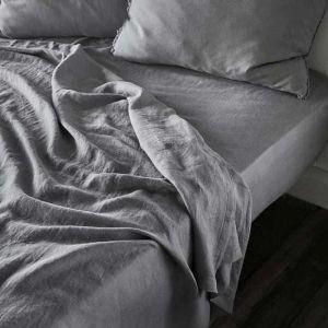 Linen Fitted Sheet | Queen Size | Slate