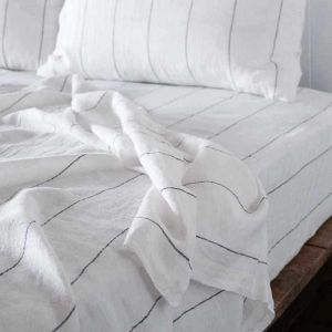Linen Fitted Sheet   Queen Size   White with Charcoal Pinstripe - Preorder