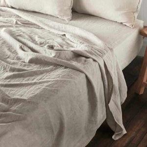 Linen Flat Sheet   King Size   Natural - Preorder