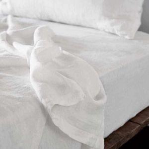 Linen Flat Sheet   King Size   White - Preorder