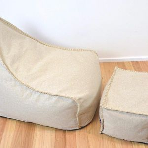Linen Look Bean Bag and Footstool