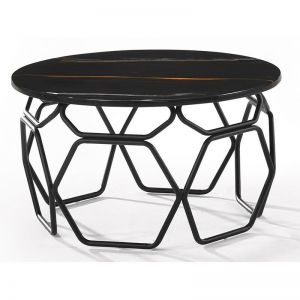 Linza Side Table | 60cm | Black & Grey Marble
