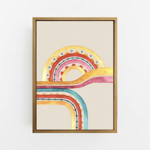 Little River Love in Sunset Ivory Print by Pick a Pear | Canvas Wall Art