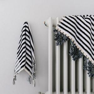 Loom Towels Black & White Stripe | Bath Mat