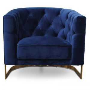 Lorena Armchair in Blue Velvet | Brushed Gold Base