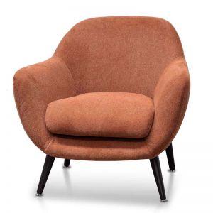 Lorene Fabric Armchair | Burnt Orange with Black Legs