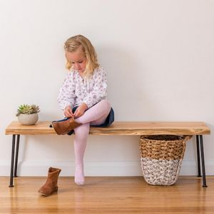 Lottie Hall Bench / Seat | Natural edge | Single Black Rod Hair Legs
