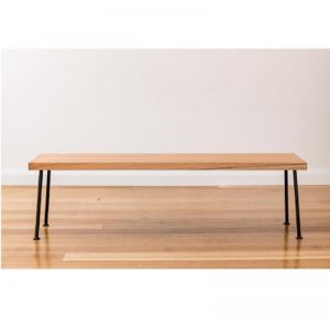 Lottie Hall Bench / Seat | Tasmanian Oak with single leg Black hair pin legs