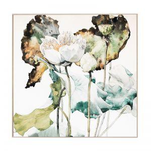Lotus Garden | Natural Box Frame | Front View