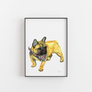 Louie the Bulldog Animal Art Print by Pick a Pear   Unframed