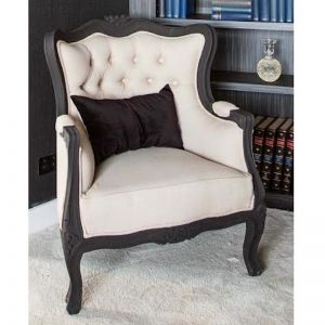 Louis Armchair | Matte Black with Latte Linen