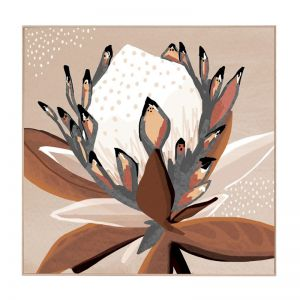 Love Protea | Natural Box Frame | Front View