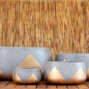Low Planter | Round Cement Squash | Gold Aztec