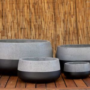 Low Planter | Round Cement Squash in Grey and Black