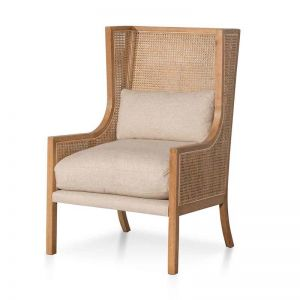 Lowell Wingback Rattan Armchair   Distress Natural and Sand White
