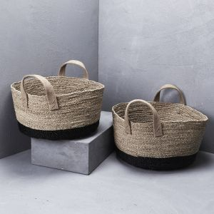 Lowline Contrast Basket with Hessian Handles