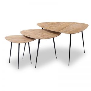 Lowri Nest Of 3 Tables | Solid Mango Wood