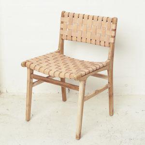 Luka Leather and Teak Chair l Custom Made