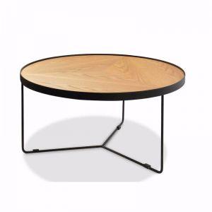 Luna 90x45cm Round Coffee Table - Natural Top - Black Frame
