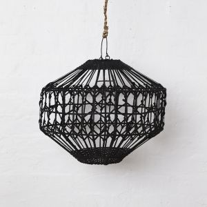 Luna Flat Rattan Light Shade in Black l Pre Order