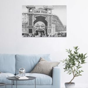 Luna Park - Saint Kilda 2-Black & White | Stretched Canvas/ Printed Panel