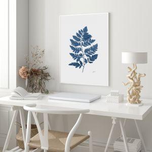 Lush Fern Living in Navy Blue Fine Art Print   by Pick a Pear   Framed