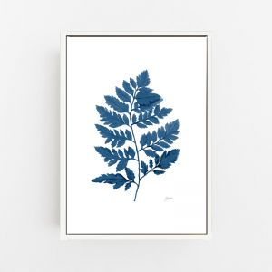 Lush Fern Living in Navy Blue Wall Art Print   by Pick a Pear   Canvas