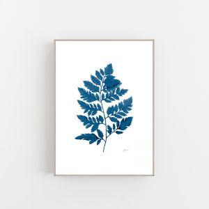 Lush Fern Living Wall Art in Navy Blue by Pick a Pear | Canvas Wall Art