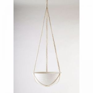Macrame Hanging Planter | White | Large by Angus & Celeste