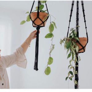 Macrame Plant Hanger | Black