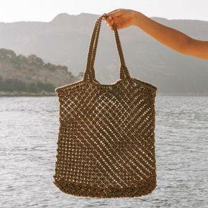 Macrame Tote Bag | Khaki Green