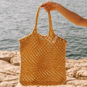 Macrame Tote Bag | Mustard
