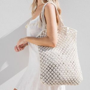 Macrame Tote Bag | White