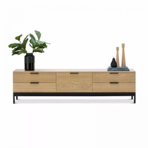Macy Oak Entertainment Unit | Natural & Black